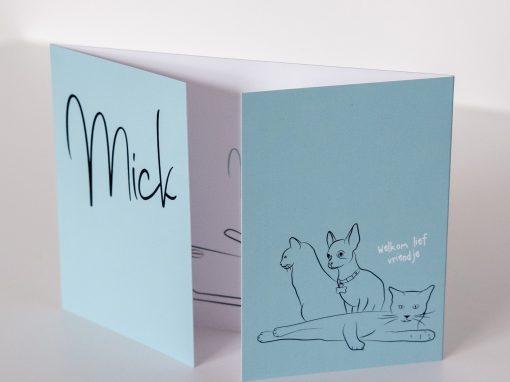 Geboortekaartje Mick huisdieren